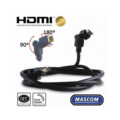 HDMI A - HDMI A, otočné konektory, délka 2m
